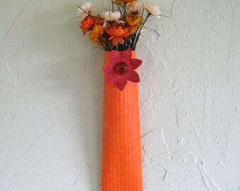 Metal Wall Art - Sconce - Repurposed Metal Sculpture Hand Painted Orange Kitchen Wall Decor indoor outdoor
