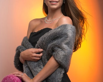 Faux Fur Stole style B Bride's Winter Wedding shawl wrap Available in White, Charcoal grey, Brown or Black