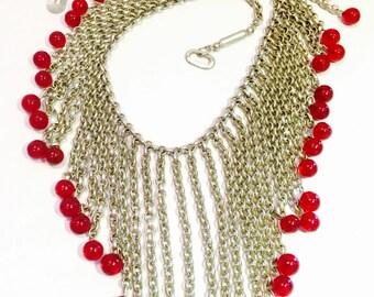 Stunning Art Deco Tribal  Egyptian Revival Silver Chain Deep Burgundy Glass Ball bib Vintage Festoon Necklace
