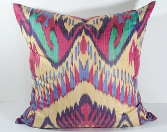 SALE for 20x20 colorful ikat pillow cover cushion case, red, green, cream, ikat, ikats, design, interior, one sample, handmade, home, uzbek