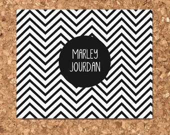 Personalized Chevron Eco Friendly Notecards / Personalized Stationery / Custom Notecard / Custom Gift (Set of 8 Flat)