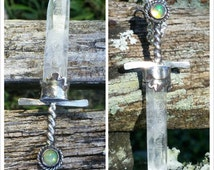 Quartz Crystal Sword Pendant Necklace in Sterling Silver with 6mm Fiery Opal