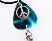 Guitar Pick Necklace Peace Love Teal Black Swirl