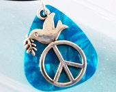 Guitar Pick Necklace Peace Dove Olive Branch Turquoise Pearloid