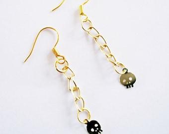 Skull Earrings Chain Shiny Gold