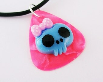 Guitar Pick Necklace Pink Pearloid Girlie Kawaii Skull Blue