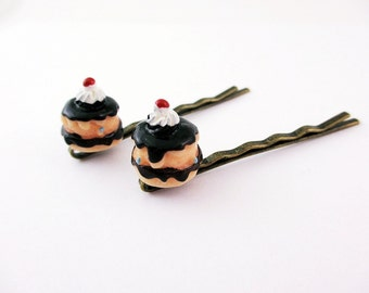 Hair Pins Bobby Pins Cupcake Boston Cream Pie Cake You can buy 1 or both, Your Choice