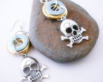 Hardware Earrings Skull and Crossbones Gold and Silver