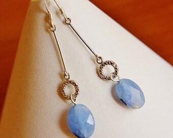 Long sterling silver earrings blue natural dainty bead beaded stone gemstone everyday jewelry classy stylish elegant charm drop dangle fun