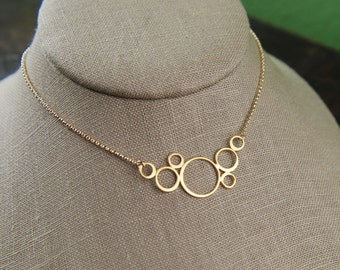 Gold connected circles and gold filled necklace, gold circle necklace, gold bubbles, geometric, gold pendant
