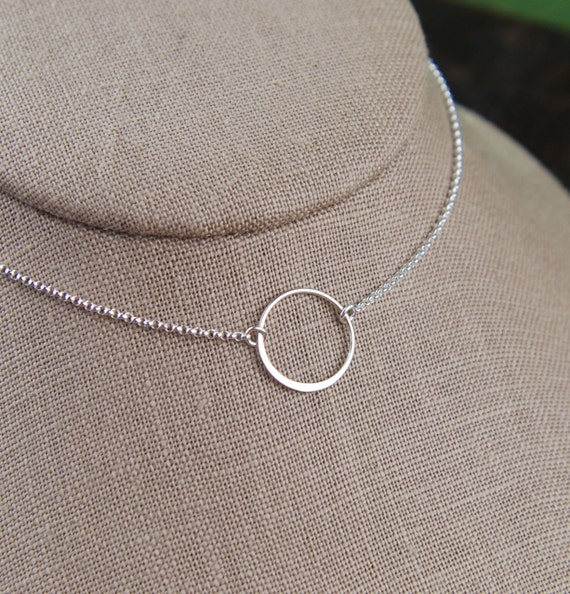 Sterling silver circle necklace, medium circle, infinity necklace, eternity necklace, karma necklace, layering necklace, minimalist necklace