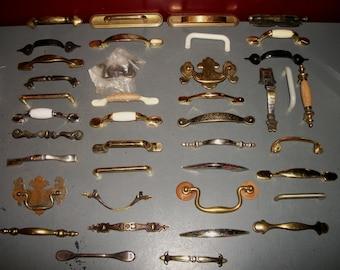 Lot of 40 Miscellaneous Handles Door Drawers Cabinet Pulls