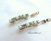 Peridot Rhinestone and Pearl Barrettes, set of 2, Tiny Barrette, children, baby, wedding, flower girl, Pearl Hair Clip Holiday Hair pins