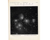 1955 PLEIADES STARS original vintage print - celestial astronomy lithograph - constellation taurus