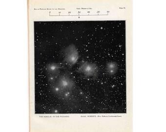 1955 PLEIADES STARS print original vintage celestial astronomy lithograph - constellation taurus