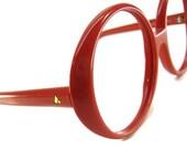 Vintage 80s Big Lens Red Cateye Eyeglasses Eyewear Frame