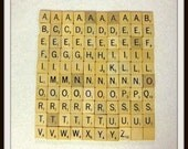 Vintage Scrabble Tiles, 100 Wood Scrabble tiles, Game Board Pieces, Letter Tiles, 1940-50, Jewelry