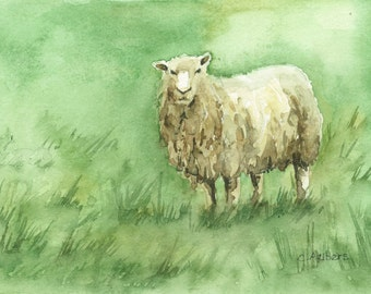 Sheep Painting -  4 x 6 inches Original Watercolor
