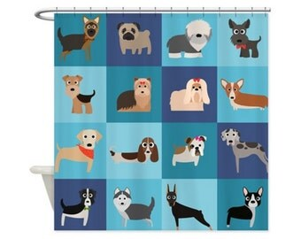 DOG BREEDS LOVE Personalized Kids Shower Curtain - Choose Your Color!