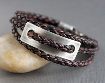 Mens Leather Silver Wrap Bracelet Brown Braid