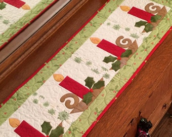 Christmas Candles PDF Table Runner Pattern