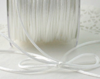 """White Satin Cord, 1/8"""" wide by the yard, Necklace Cord, Weddings, Jewelry Cord, Gift Wrapping, White Satin Trim, Sewing, Jewelry Supplies"""