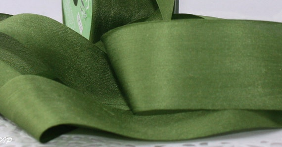 """Olive Green Silk Ribbon, 1.25"""" wide, Ribbon by the yard, Weddings, Gift Wrapping, Bouquet Wrap, Invitations, Bridal Sashes, Silk Trim"""