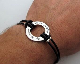 Custom Mens Bracelet - Mens Personalized Leather Band - Gift for Husband, Boyfriend - Groomsmen Gift - Black or Brown Bracelet - Engraved