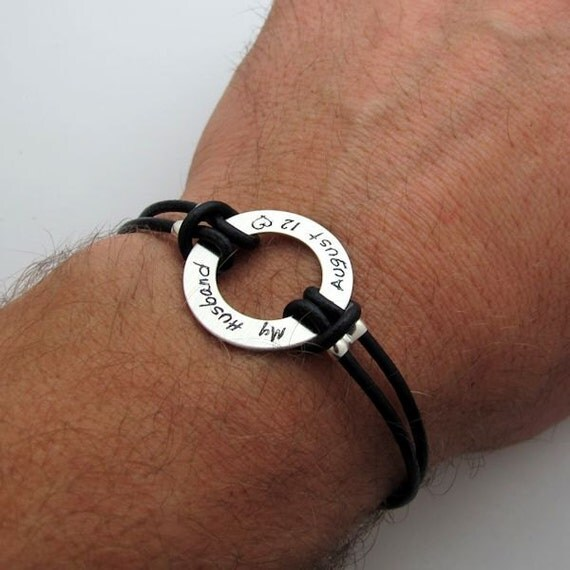 Custom Mens Bracelet Mens Personalized Leather Band Gift