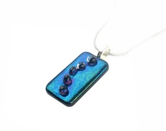 Pendant Necklace, Blue Iridescent Stained Glass Jewelry