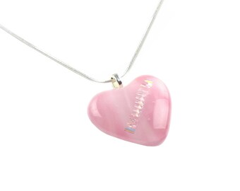 Pendant Necklace, Large Pink Heart with Gold Ribbed Diagonal Design