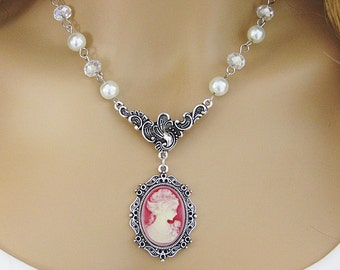Cameo Necklace, Cameo Necklaces, Victorian Lady Cameo Necklace, Cameo Choker, Beaded Necklace, Cameo Jewelry, Cameos, Red Lady Cameo, N-749