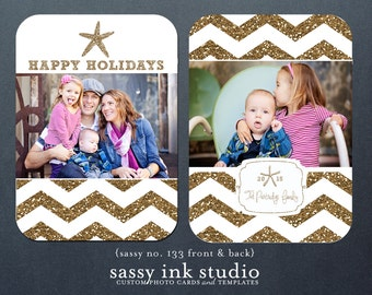 Gold Glitter Chevron + Starfish + Happy Holidays Customized Photo Card - Printable Holiday Card - Christmas Card (no. 133)