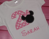 Personalized Minnie Mouse Inspired Birthday Shirt with Number