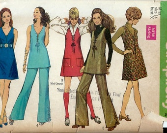 1960's Simplicity Pattern No. 8382 : A Line Dress, Jumper or Tunic and Pants with Lacing Trim Bust 36