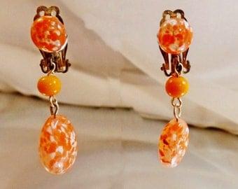 Vintage Orange White Glass Dangle Earrings. Art Glass Beads. University of Tennessee Earrings.