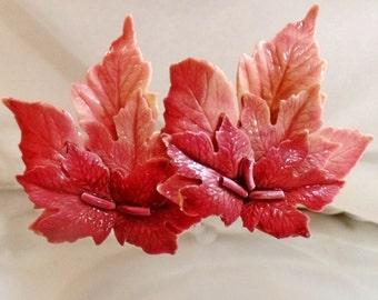 Vintage Huge Celluloid Leaf Earrings. Pinks. Salmon. Burgundy Leaves Earrings. Autumn Fall Leaves.