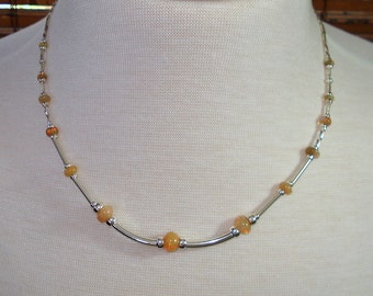 Opal Necklace, Ethiopian Fire Opal Large Colorful Rondelles, Sterling Silver Tube Spacers, Honey Opals