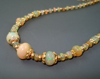 Opal Necklace with Large, Colorful Ethiopian Fire Opals, Gold Filled Beads and Chain and Extreme Fire