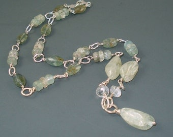 Aquamarine Necklace with Blue, Green and Moss Aquamarine and Sterling Silver