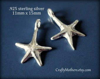 TEN Bali Sterling Silver Starfish Charms, 15mm x 11mm, artisan-made supplies, earrings, necklace, bracelet, bulk priced