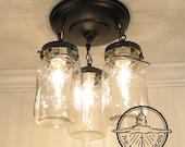 Mason Jar LIGHT FIXTURE Trio of Vintage Quarts Chandelier Lighting