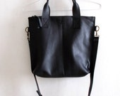 Black leather tote - Handbag - Cross-body bag - Every day bag - Women bag - Shoulder leather bag