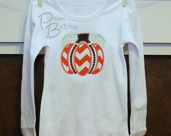 TShirt with Beaded Pumpkin Applique...Halloween...Thanksgiving