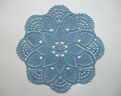 Crochet Doily Large Blue Cotton Lace Table Topper with Star Center Pineapple Motif and Large Fans Heirloom Quality