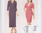 Burda Style Pattern 6730 Easy Knit Wrap Dress with Sleeves Cut in One, Side Ties, Sleeve Length and Hemline Variations Misses' Sizes 10 - 20