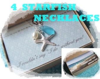 4 STARFISH NECKLACE -  Starfish Necklace, Starfish Jewelry, Starfish Necklace Jewelry, Starfish Necklaces, Bridesmaid, Beach Wedding Jewelry