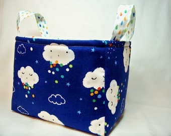 PK Fabric Basket in Showery in Midnite - Storage Basket - Diaper Caddy - Ready To Ship - Reversible