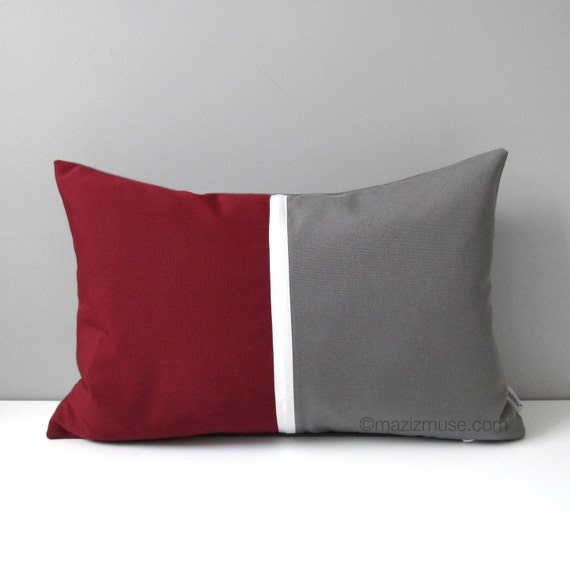 Burgundy & Grey Pillow Cover Modern Outdoor Pillow by ...