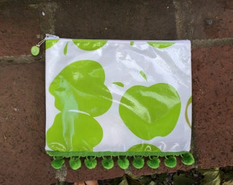 All purpose zippered pouch with green apples reserved for BRIANNA